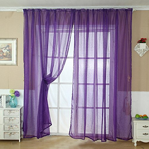 Solid Color Tulle Door Window Curtain Drape Panel Sheer Scarf Valance Orange - 4