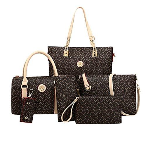 beige Crossbody New Vintage Women Pattern Leather Messenger Bag Purse Yiyida Handbag Handbags Coffee Design Bags Sets 6 TZF01nX