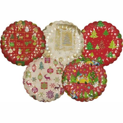 Papstar 11522 25 Teller, Pappe rund verschiedene Weihnachtsdekore, Durchmesser 23 cm
