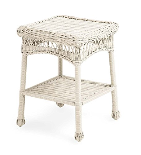 Plow & Hearth 39007-BWH Easy Care Outdoor Resin Wicker End Table, 17