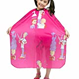 JINDIN Kids Hair Cutting Capes Salon Children Hairdressing Cape Barber Clothes Waterproof Haircut Gown for Girls and Boys Pink
