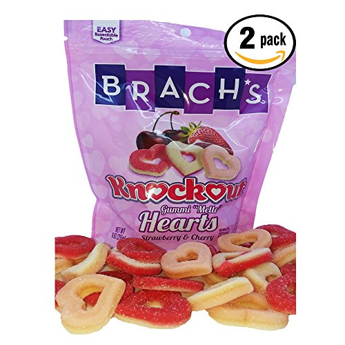 Brachs Knockout Gummi Mello Hearts Strawberry & Cherry Flavoured (2) 9oz bags (Brachs Chocolate Stars)