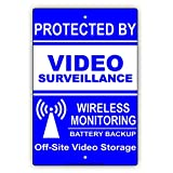 onepicebest Blue White Proctected by Video Surveillance Wireless Monitoring Battery Backup Off-Site Video Storage Warning Notice Aluminum Metal Tin Sign Plate
