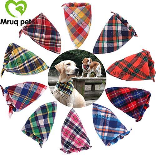 assic Pet Dog Bandanas Washable Triangle Plaid Adjustable Dog Scarf Bow Tiess ()