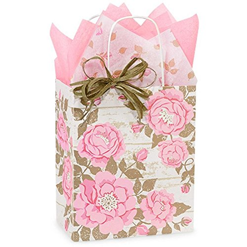 Cottage Rose Garden Paper Shopping Bags - Cub Size - 8 x 4 3/4 x 10 1/4in. - 200 Pack by NW