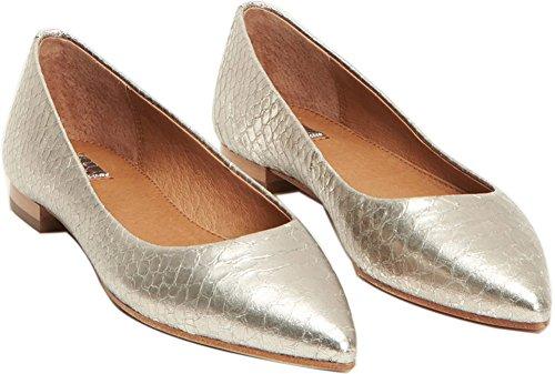 FRYE Women's Sienna Ballet Silver Metallic 9 B US (Metallic Flats Leather Ballet)
