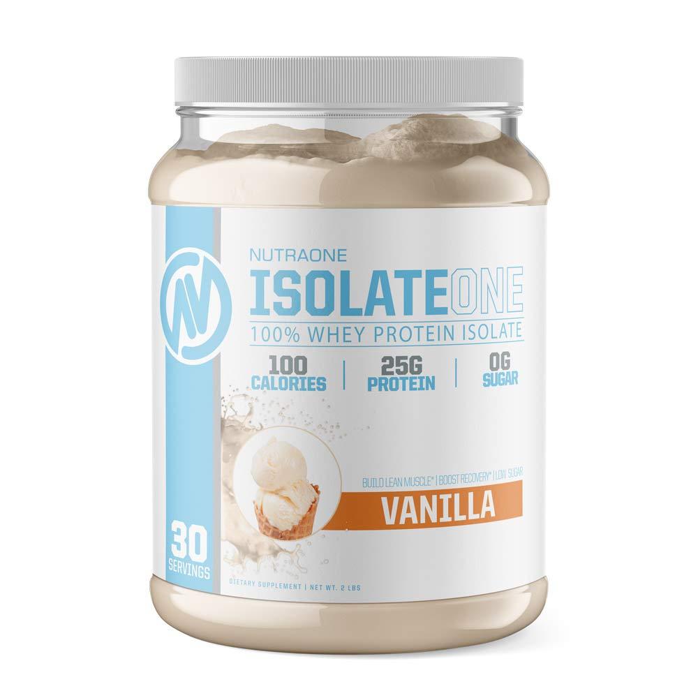 IsolateOne Whey Protein Isolate Powder by NutraOne 100 Pure and Amino Acid Free Whey Isolate Powder Vanilla Ice Cream – 2 lbs.