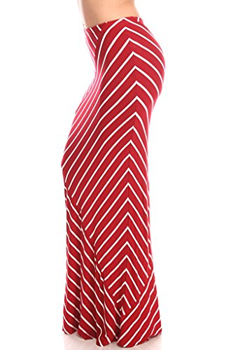 Lolli Couture STRIPPED LONG CAUSAL LOOSE SKIRT L redwhite