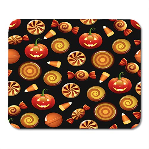 Emvency Mouse Pads Orange Pattern Halloween Sweets Candy Corn and Pumpkins on Circle Hard Mousepad 9.5
