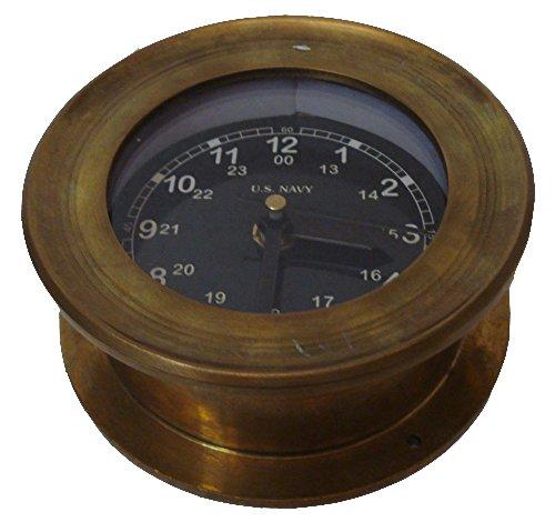U.S. Navy Marine BRASS Wall Clock - BLACK Style - 100% SATISFACTION - Marine / Nautical / Boat / Maritime by Marine