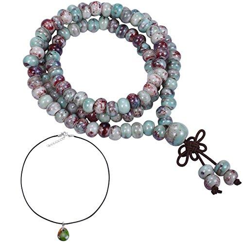 CAT EYE JEWELS 108 Buddhist Prayer Beads Porcelain Meditation Mala Beads Bracelet Necklace Cherry Turquoise