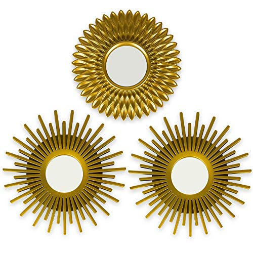 BONNYCO Espejos Pared Decorativos Dorados Pack 3 Espejos Decorativos Ideales para Decoracion Casa, Habitacion y Salon | Espejos Redondos Pared Regalos Originales para Mujer | Decoracion Pared