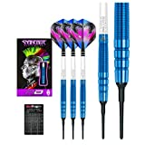 Red Dragon Peter Wright Snakebite Blue PL15 Soft-Tip - 18g - 90% Tungsten Steel Darts with Hardcore Flights, Shafts & Red Dragon Checkout Card