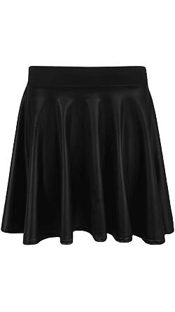 8e30366038431 Womens Black Wet Look Skater Skirt Office Formal Pencil Bodycon Ladies Pvc  Shiny Plus Size
