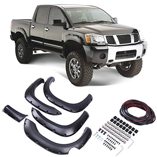 Honhill Black Pocket Rivet Style Front & Rear Fender Flares Fits 04-14 Nissan Titan,Bedside Lockbox Only (Fender Nissan Flares)