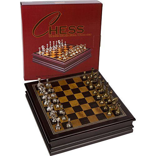 Grace Chess Inlaid Wood Board Game with Metal Pieces - 12 Inch Set ()