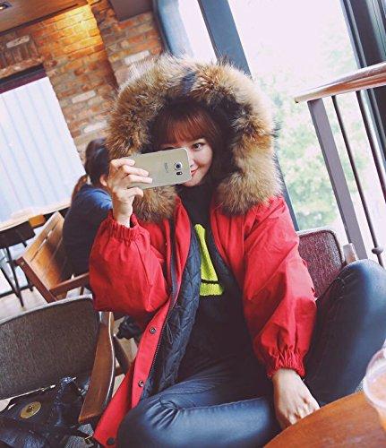 Xuanku Loose Large Size Hooded Real Collar Collar Cotton Coat Bat Sleeve Thick Coat Coat Jacket Female Black