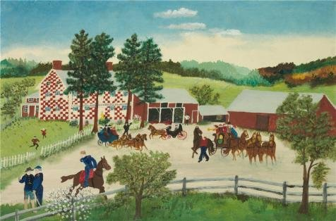[The Perfect Effect Canvas Of Oil Painting 'Grandma Moses,The Old Checkered House,1945-1946' ,size: 8x12 Inch / 20x31 Cm ,this Imitations Art DecorativeCanvas Prints Is Fit For Gym Decoration And Home Decoration And] (Grandma Moses Costume)