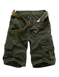 Elonglin Mens Cargo Shorts Cropped Outdoor Vintage Bermuda Shorts No Belt