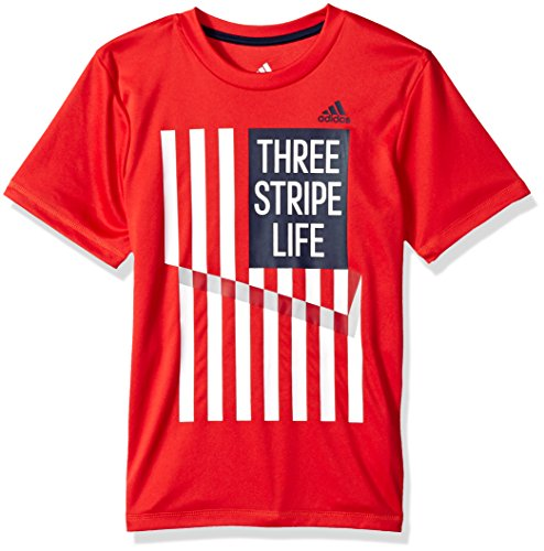 Adidas Boys' Little Short Sleeve Cotton Jersey Graphic T-Shirts, Red/White, 4