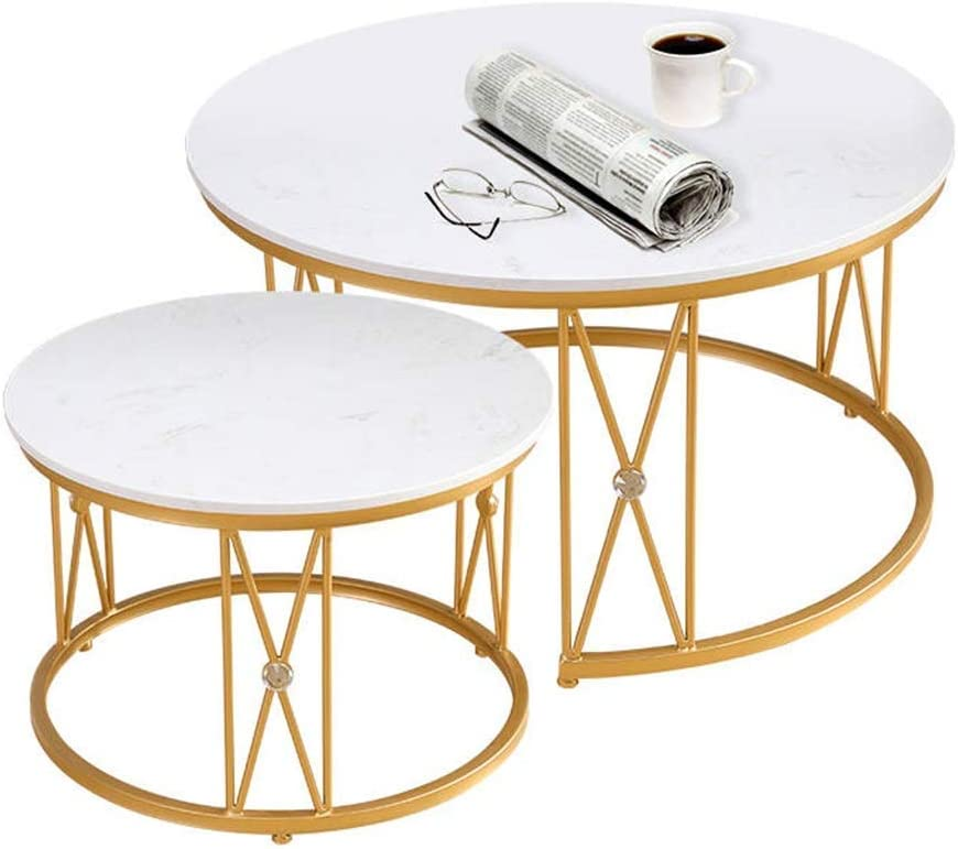 Marble Coffee Table Set, Wrought Iron Frame, Environmentally Friendly Spray, Simple and Stylish, Designed for Modern Homeiving Room, Round, White, YueQiSong