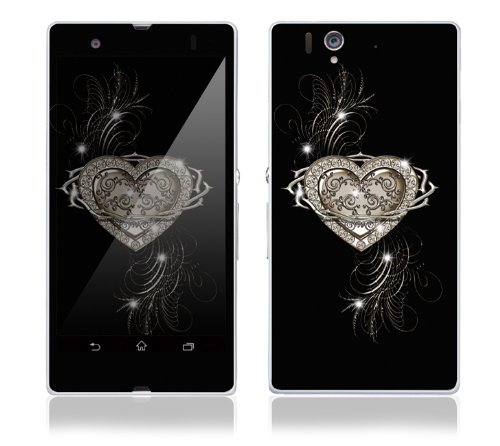 Sony Xperia Z Decal Phone Skin Decorative Sticker w/ Free Matching Wallpaper - Bling Heart of Thorns