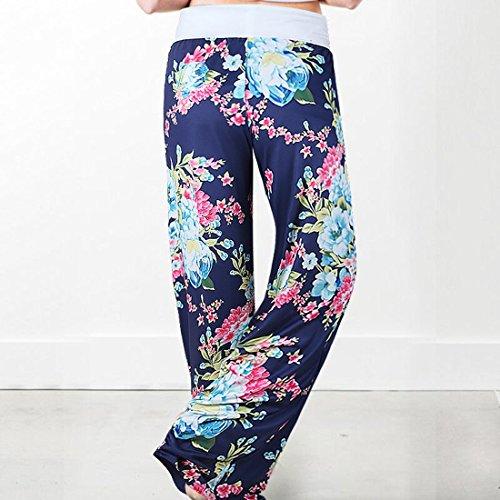 Femme Floral Large Imprimé Décontracté Taille De Pyjama0911 Sport Jogging Yoga Bleu Détente Pants Pantalon Grande Elastique D'intérieur Jambe Eté TPXZuwOki