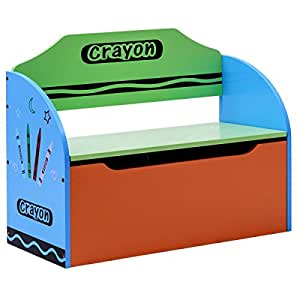 Merveilleux Costzon Toy Box, Crayon Themed Toy Storage Chest Organizer For Kids With Lid