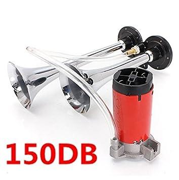 Bocina de KT Supply, 12 V, 150 dB, bocina de aire, trompeta doble con compresor para camiones, motos, coches y barcos: Amazon.es: Coche y moto