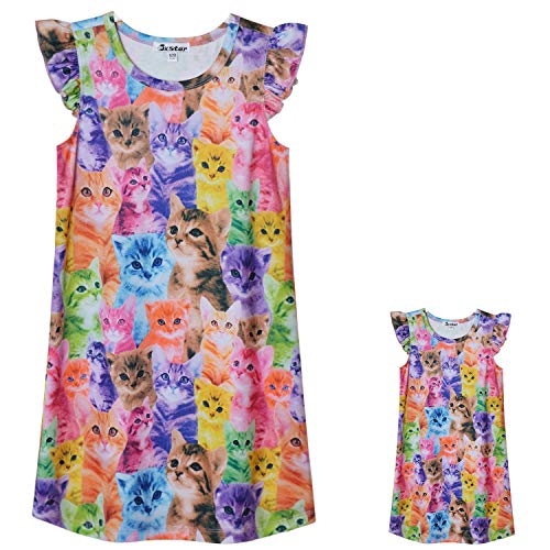 Toddler Girls Cat Nightgowns & Dolls Matching Nighty Summer Night Dresses (Baby Doll Nightgown For Girls)