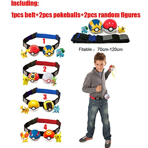[Pokemon Clip n Carry Kids Adjustable Poke Ball Belt Xmas Gift Pretend Play Game] (Bk King Costume)