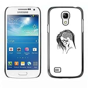 // PHONE CASE GIFT // Duro Estuche protector PC Cáscara Plástico Carcasa Funda Hard Protective Case for Samsung Galaxy S4 Mini i9190 / Emo Goth Cráneo /