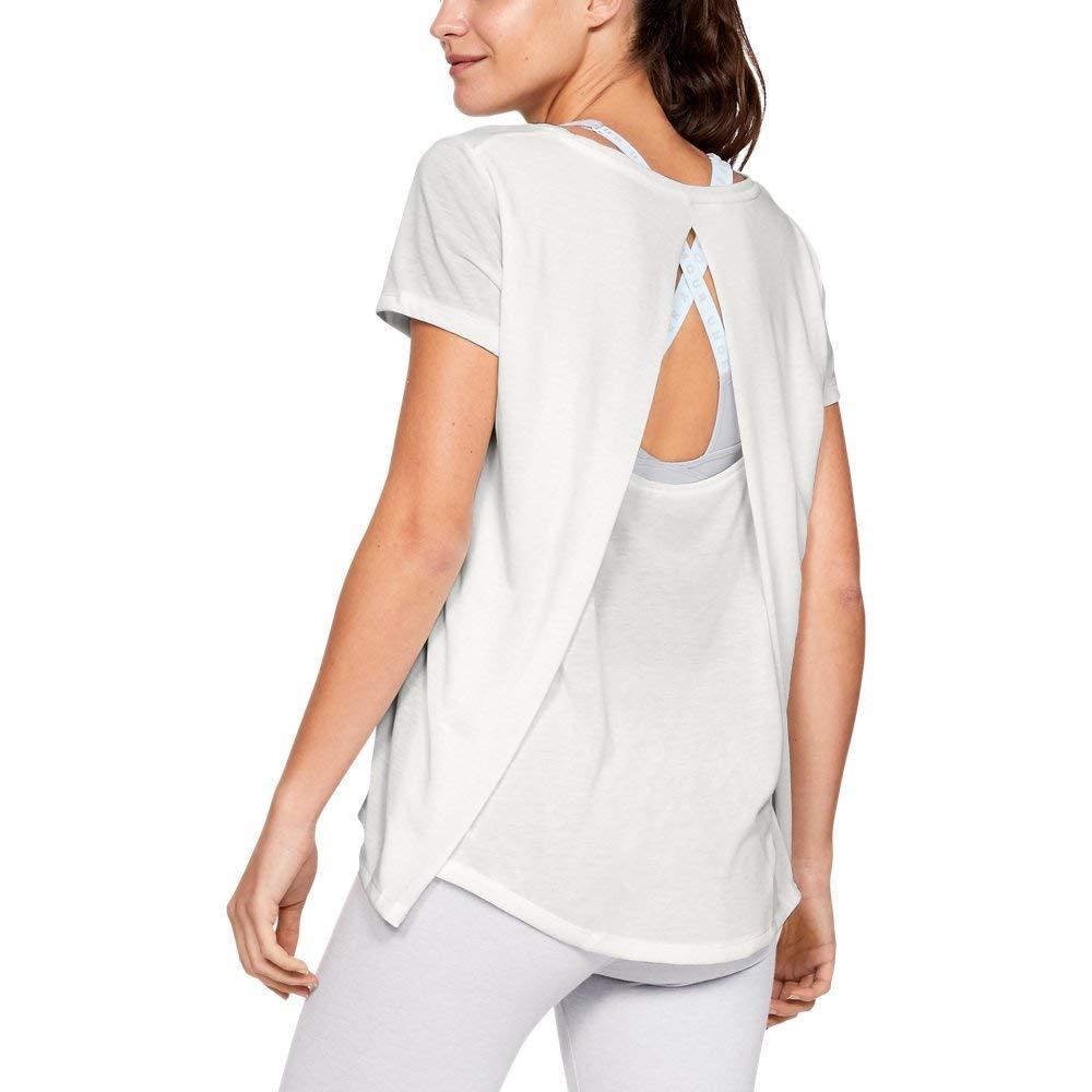 Under Armour Women's Whisperlight Short Sleeve Foldover Shirt, Onyx White//Tonal, X-Small