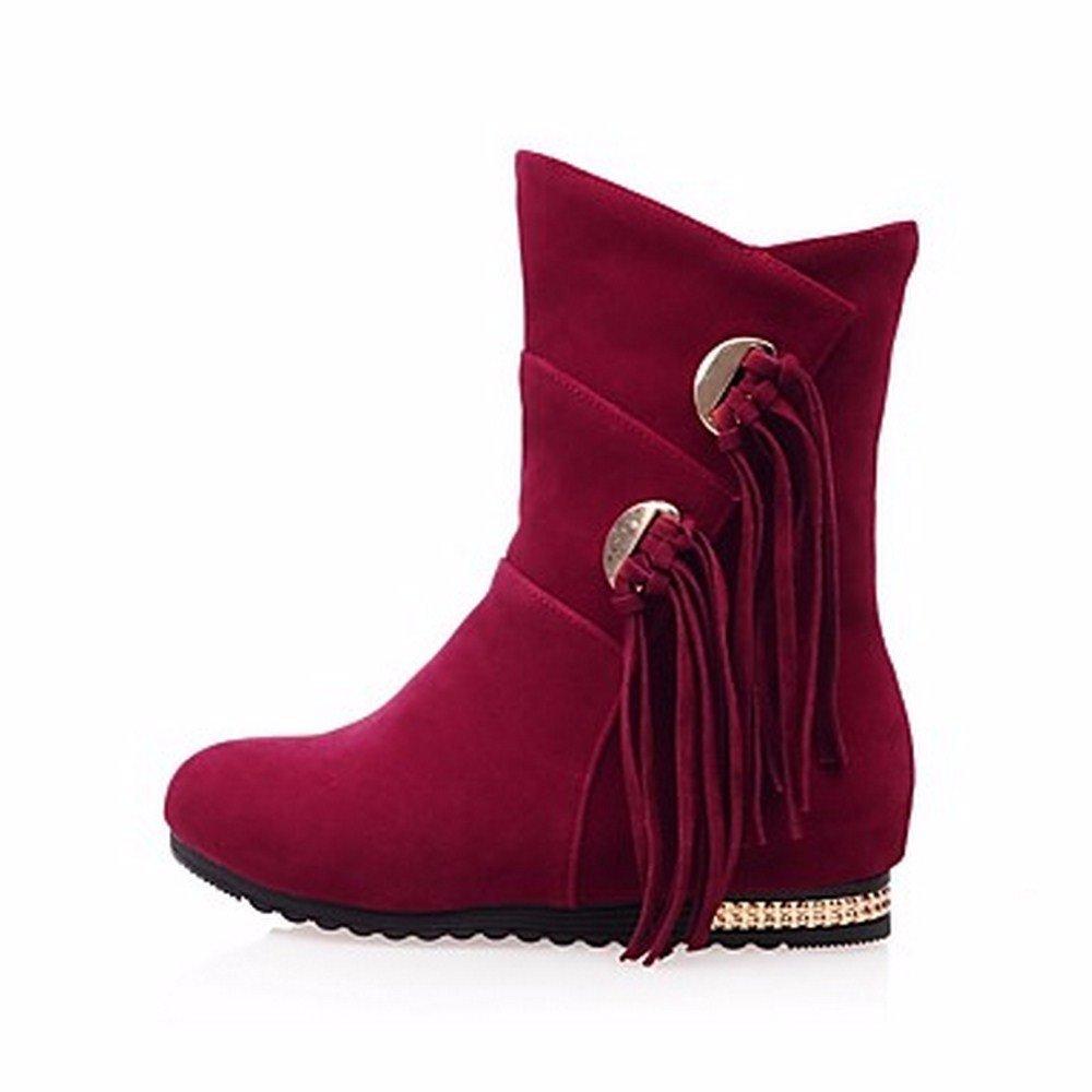 ZHUDJ Damenschuhe Frühjahr Herbst Stiefel Komfort Snow Stiefel Herbst Runder Mid-Calf Stiefel Quaste (S) Für Casual Rot Schwarz ROT 7f1210