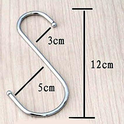 Juego de ganchos en forma de S, acero inoxidable, tamaño grande, 10 unidades