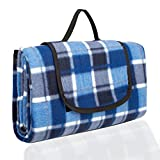 PIC AUTO Extra Large Picnic Blanket, Waterproof Layers, Display Size 78'' x 57'', Outdoor Picnic Mat, Great For Family Camping, Hiking and the Beach, Blue and White