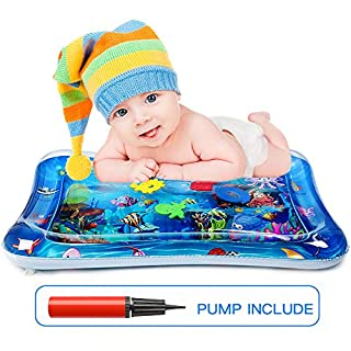 POWOBEST Tummy Time Water Mat Baby Play Mat with Air Pump, Infant Inflatable Water Activity Play Mat for 3-12 Months Newborn Boy Girl BPA-Free