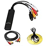 UNIWENT Easycap Audio & Video Capture Device, Tv Dvd Vhs Video Adapter Capture Card Audio Av Capture + Software Disc + RCA Cable + Lot RCA Male Plug to BNC Female Jack Adapter Connector Coupler(EP924)