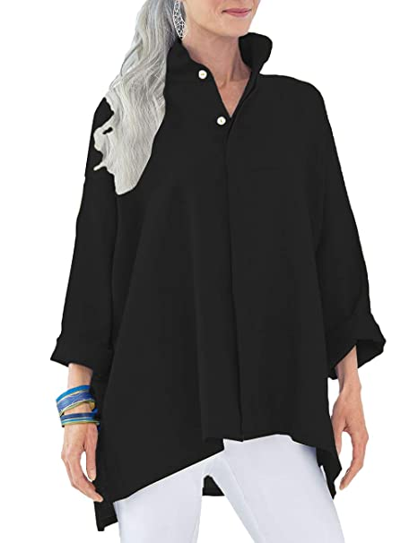 c4e7c193 Dean Fast Women's V Neck Button Front Blouse Long Sleeve Stand Collar Shirt  Tops at Amazon Women's Clothing store: