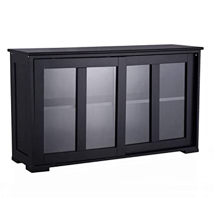 costzon kitchen storage sideboard antique stackable cabinet for home cupboard buffet dining room black - Black Sideboard Buffet