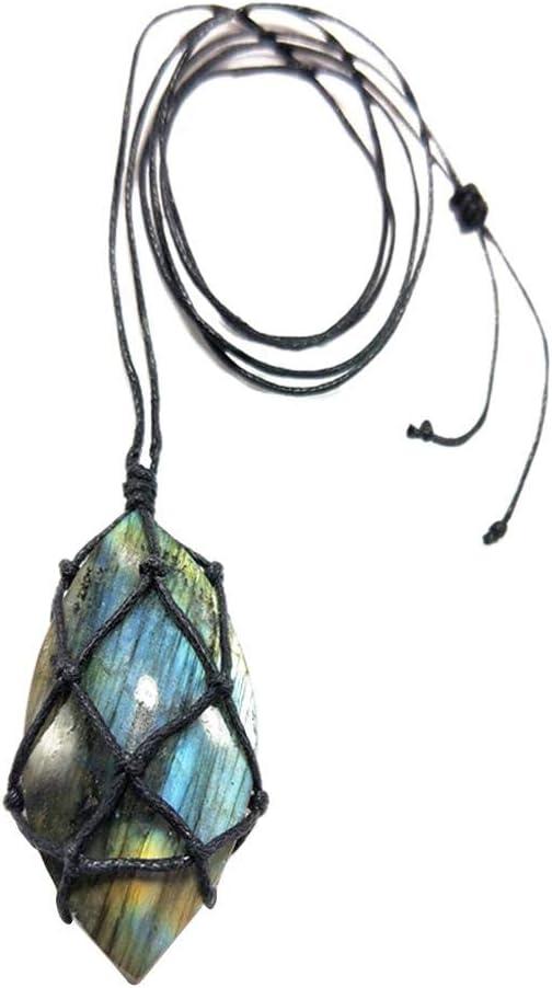 rebirthesame Collar Trenzado de macramé de Piedra Natural con Colgante de dragón en Forma de corazón de labradorita para Hombre y Mujer