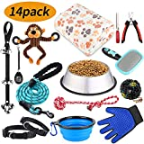 COOYOO Puppy Kit, Puppy Starter Kit,14 Pack Dog Supplies, Dog Toys |Dog Grooming Kit | Dog Blanket | Dog Bowls| Puppy Training Supplies | Dog Leash and Collars