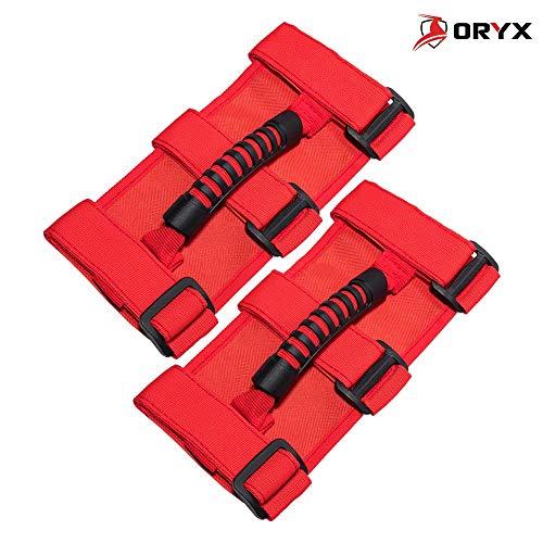 Oryx Auto Roll Bar Grab Handles 2 Pack Red for Jeep Wrangler CJ YJ TJ LJ JK JL - Premium Quality Roll Bar Accessories