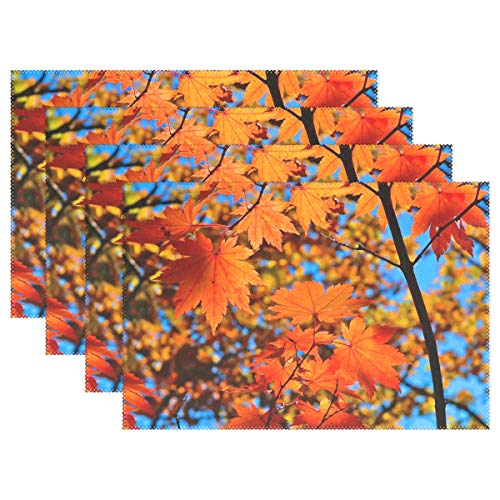 Red Yellow Fall Maple Leafs Placemats for Kitchen Table Heat Resistant Washable Table Mats 1 Piece