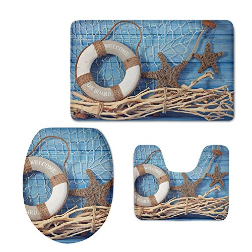 Coloranimal Nautical Seashell Starfish Swimming Ring on The Net Bathroom Accessories 3 Pcs Sets, Non Slip Bath Area Rugs+Lid Toilet Seat Cover+Contour Mat, -