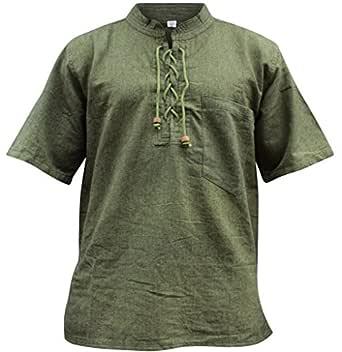 Shopoholic Fashion Mens Half Sleeved Hippie Grandad Shirt (S,Green)