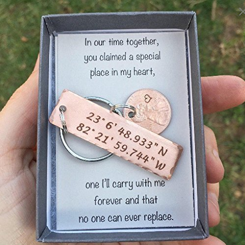 Coordinate Keychain with Lucky Penny, Boyfriend Gift, Anniversary Gift, GPS Keychain, Lucky Penny, Men's Personalized Keychain, Graduation Keychain by Charmed Elements Jewelry