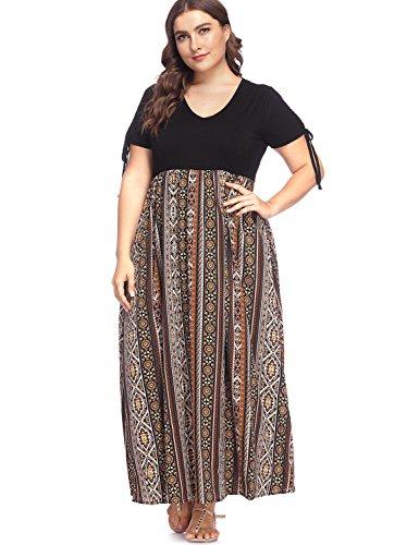 - Women's Plus Size V Neck Summer Casual Long Dress Zig Zag Striped Print High Waist Chiffon Dresses Short Sleeve Black 4X