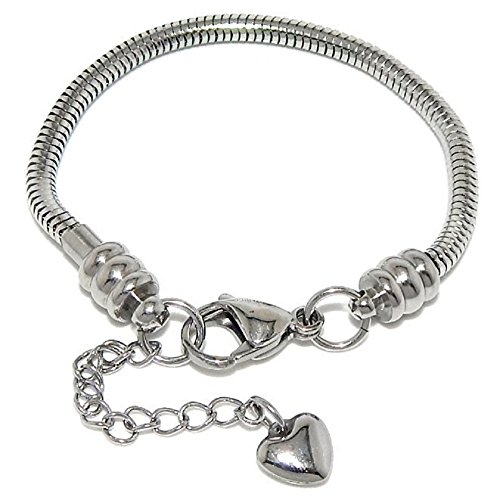 Stainless Steel Starter Charm Bracelet for Women & Kids Fits Pandora Jewelry European Style Clasp Come with 2 Beads (Lobster Claw 8
