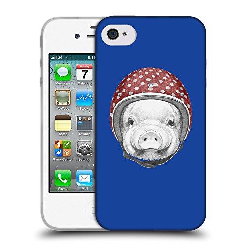 GoGoMobile Coque de Protection TPU Silicone Case pour // Q05340613 Casque tirelire Bleu // Apple iPhone 4 4S 4G